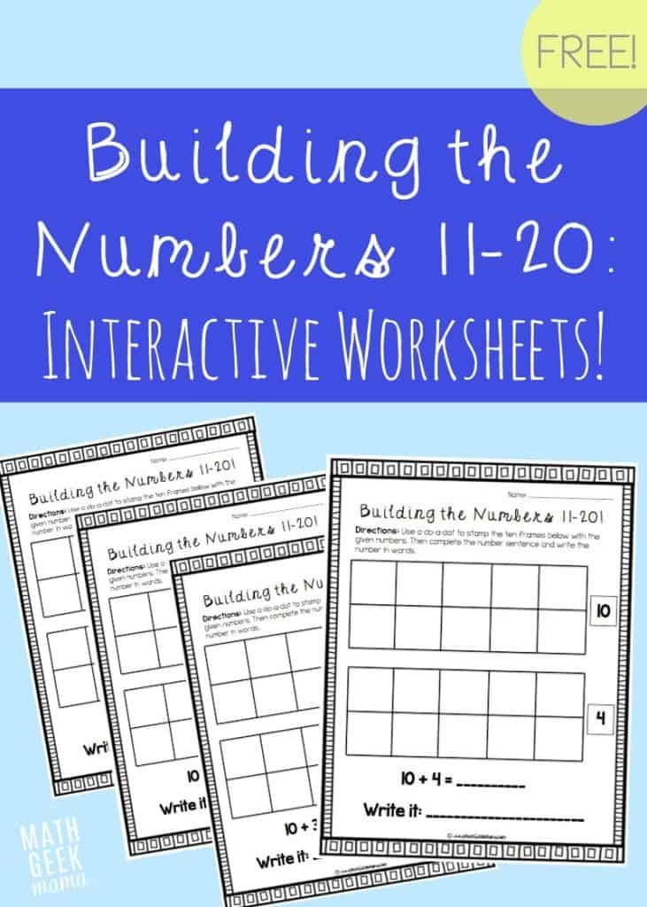 Building The Numbers 11 20 Free Interactive Worksheets
