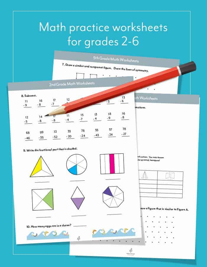 Free homeschool curriculum resources archives page 3 of 27 free math practice worksheets for grades 2 6 whether used as a quiz or just a fun additional lesson use these free math practice worksheets for grades fandeluxe Image collections