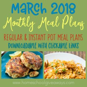 This month you'll find new meals for stove-top, slow cooker, grilling and instant pot, as well as some delicious Spring salads! Be sure to download one (or both) meal plans to make dinners easier this month! :: www.homeschoolgiveaways.com