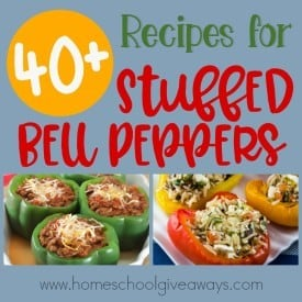 Do you love stuffed bell peppers? Check out these delicious recipes and see if you find some new favorites! These are perfect for an easy dinner one night! :: www.homeschoolgiveaways.com