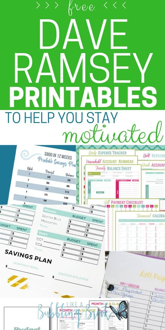 free dave ramsey printables to help you stay motivated
