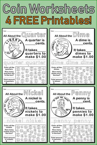 graphic relating to Printable Coin Checklist identified as 4 No cost Printable Coin Worksheets - Homeschool Giveaways