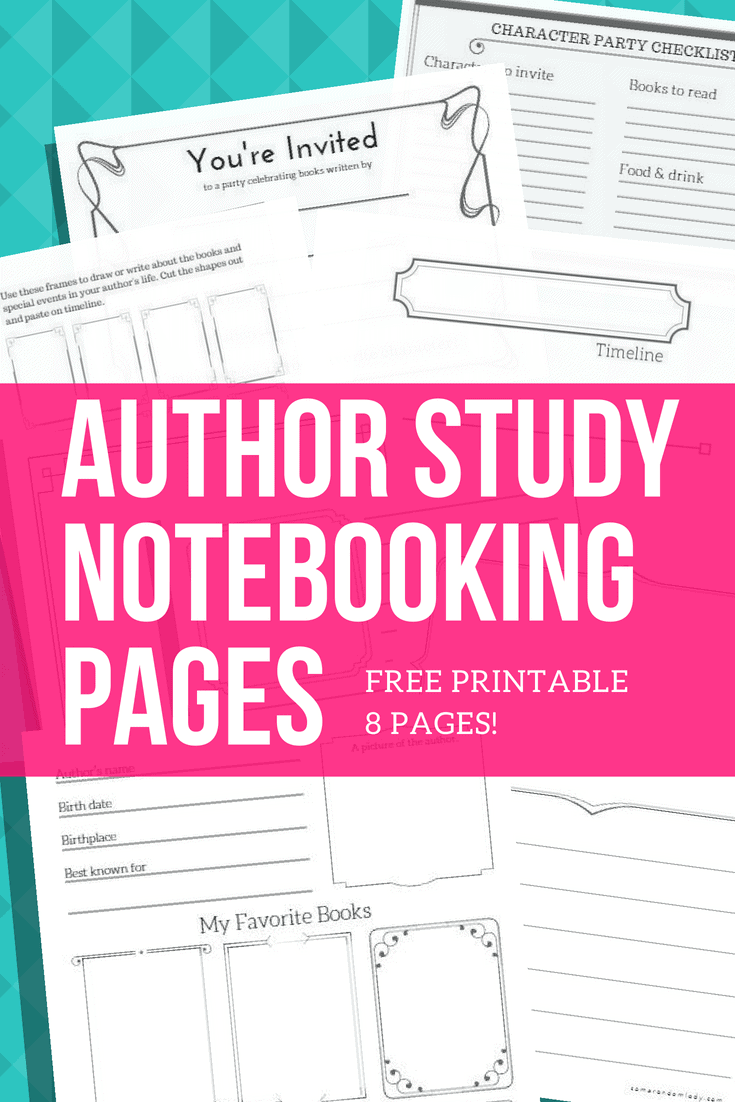 Author Study Notebooking Pages