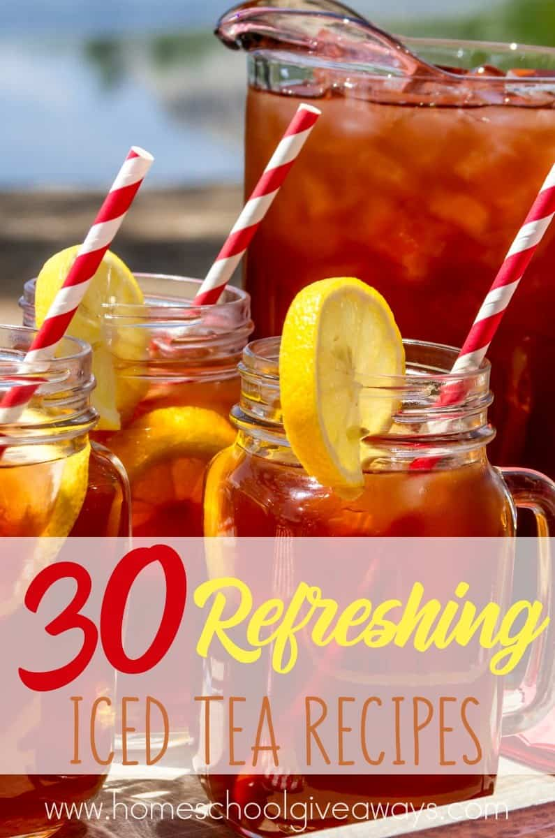 I remember my mom always having a pitcher of iced tea made and ready to drink when I was growing up. These 30 Refreshing Iced Tea Recipes are sure to make your tastebuds dance this Spring and Summer! :: www.homeschoolgiveaways.com