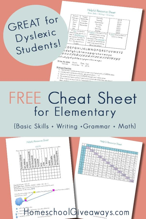 "FREE ""Cheat Sheet"" for Your Elementary Students (Math, Writing, Grammar)"