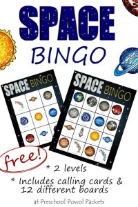 space bingo label