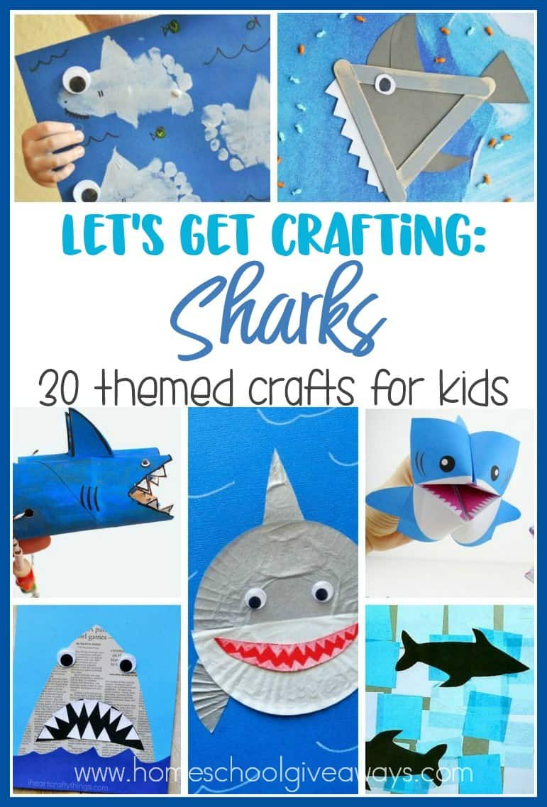 Are you studying sharks? Check out these fun crafts the kids are sure to love! From sensory activities to hand puppets to games and more! :: www.homeschoolgiveaways.com