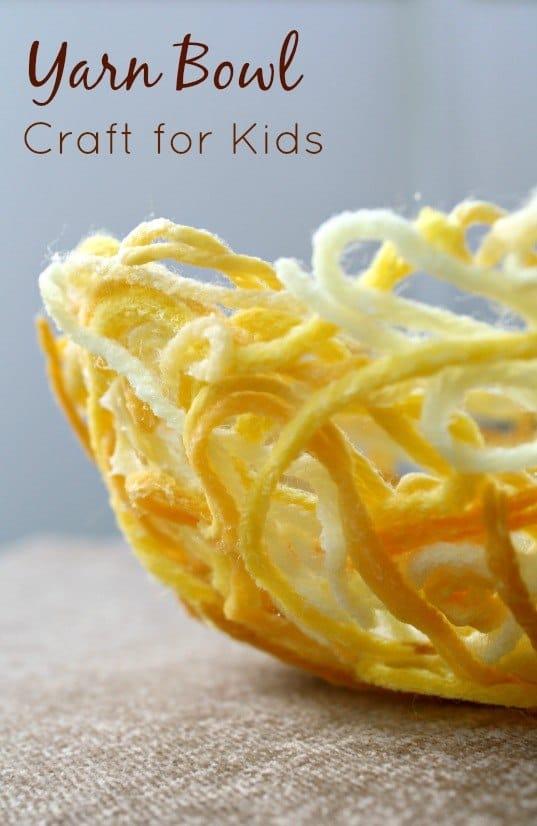 Yarn-Bowl-Craft-Made-by-Kids