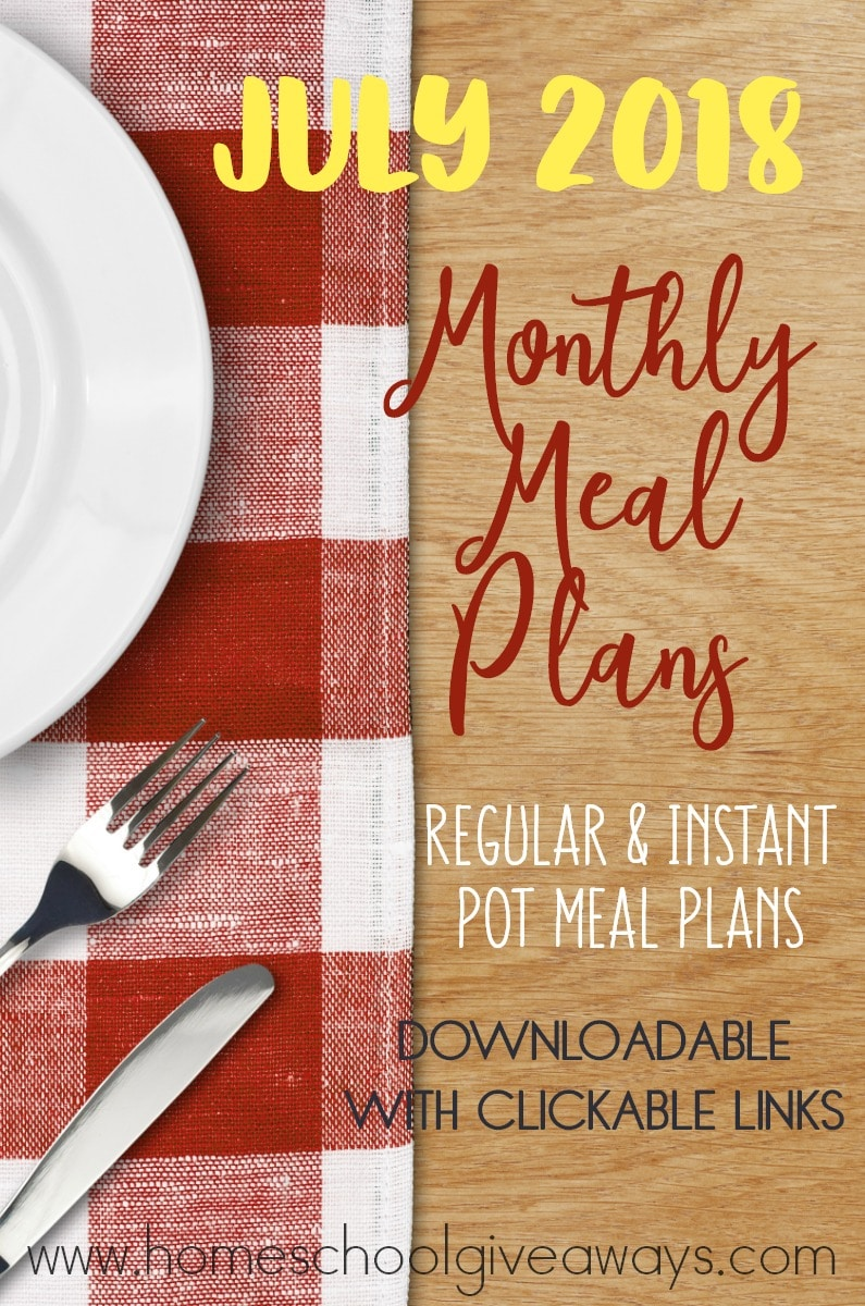 Summer is in full swing, but that doesn't mean you have to scramble to find a meal to cook! Check out our Regular & Instant Pot Meal Plans for the month of July! They include summer salads, meals, grilling options and more! :: www.homeschoolgiveaways.com