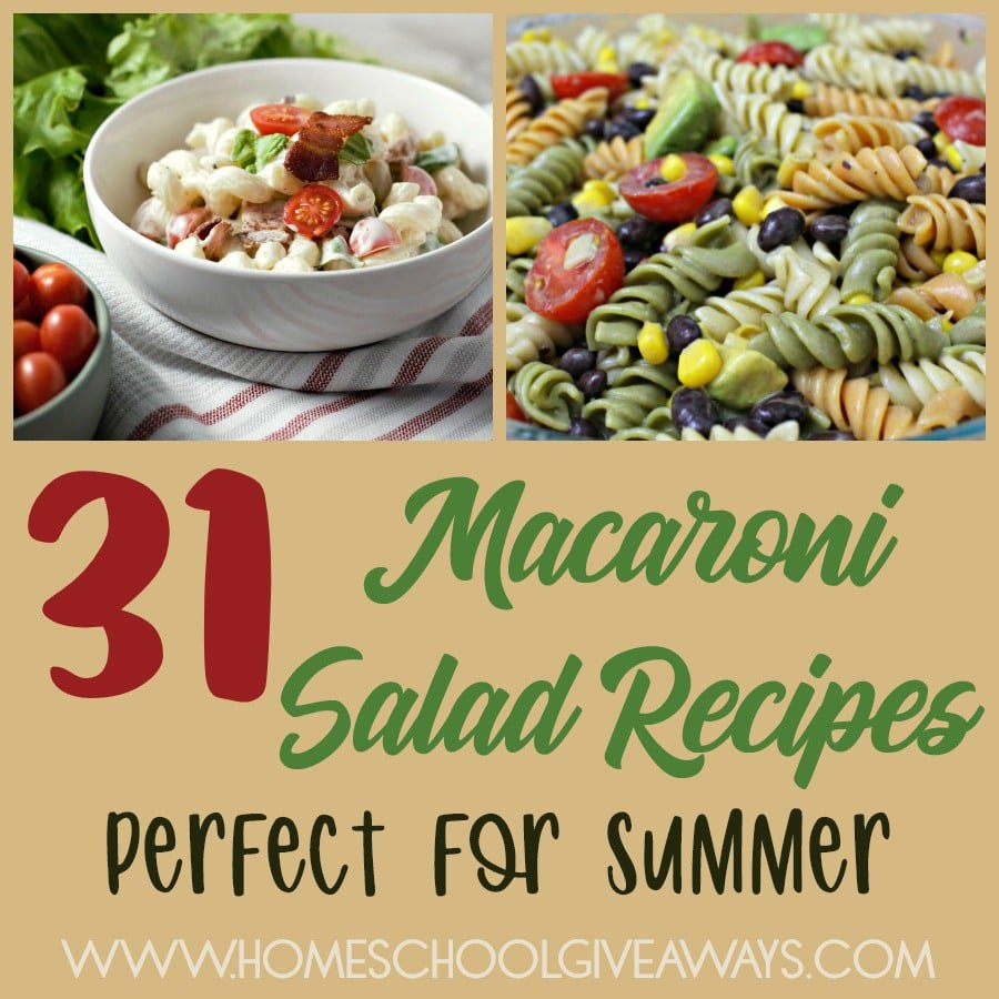 Macaroni Salads are a wonderful summer-time salad and the perfect addition to any summer gathering. Check out these delicious recipes perfect for your next get together! :: www.homeschoolgiveaways.com