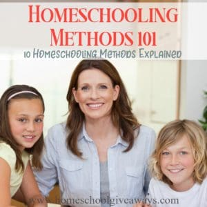 Many homeschoolers combine several different methods to fit their family's needs, however, there is usually one method that they adhere to most closely. No one method is better than another, but how do you know which is best for your family? Here's some characteristics for 10 of the most common methods to help you decide. :: www.homeschoolgiveaways.com
