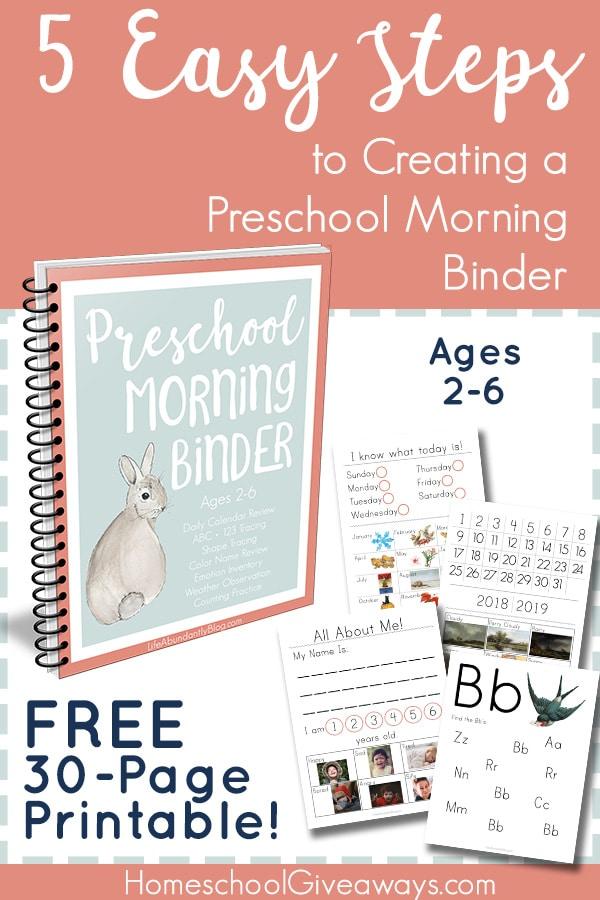 Free Preschool Morning Work Binder Printable 30 Pages