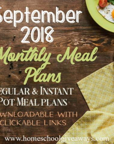September is just around the corner and that means it's time to start planning those meals! Download net month's meal plans for some final summer meals and new fall inspired meals to celebrate the first day of Fall! :: www.homeschoolgiveaways.com