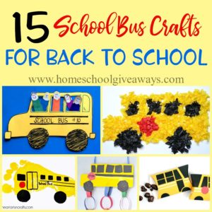 Even though we homeschool, my kids are fascinated by the school bus that passes by our home every year. So, I thought...why not take advantage of their curiosity and have a little back to school fun with these School Bus themed crafts! :: www.homeschoolgiveaways.com