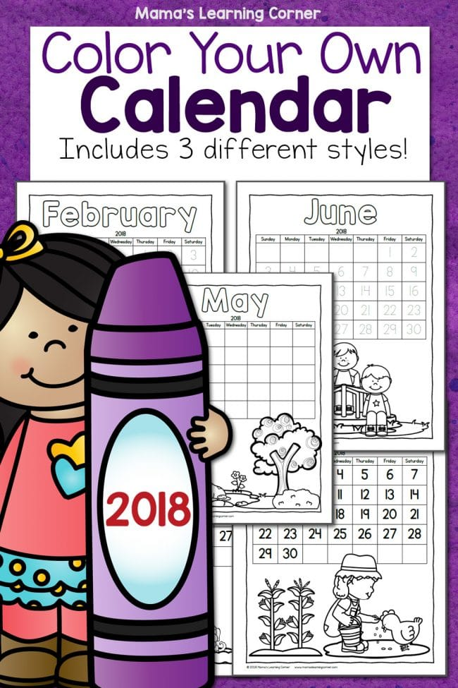 Free Printable Color Your Own Calendar Homeschool Giveaways