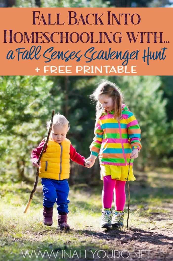 young kids taking a hike - fall senses scavenger hunt