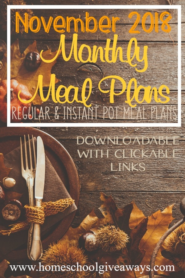 With the holiday season revving up, ensure your family they'll have healthy meals with these monthly meal plans. Choose from a regular & slow cooker meal plan or an Instant Pot meal plan. #mealplan #mealplanning #moms #hsmoms #homemaking