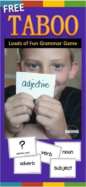 Taboo Grammar Game for first grade, 2nd grade, 3rd grade, 4th grade