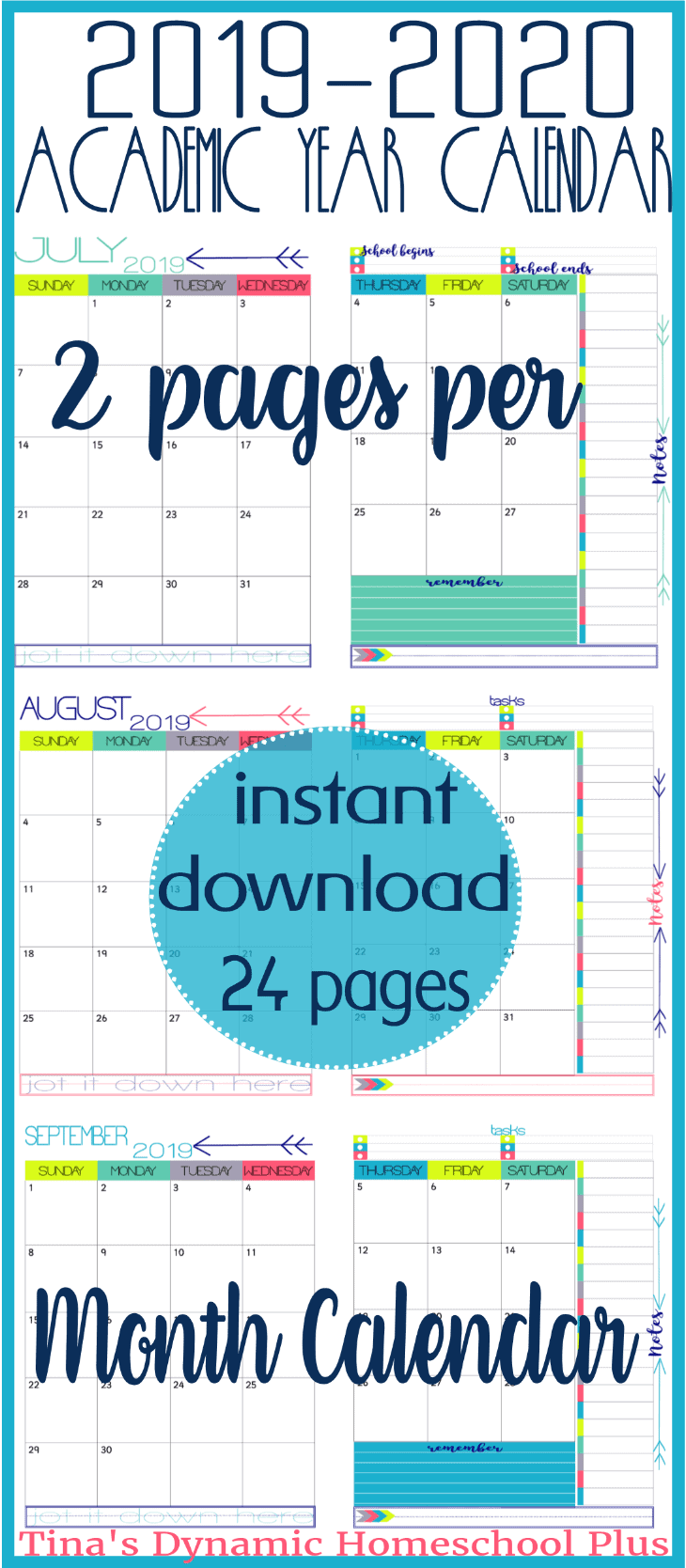 2 Free Pages 2019 2020 Academic Calendar Homeschool