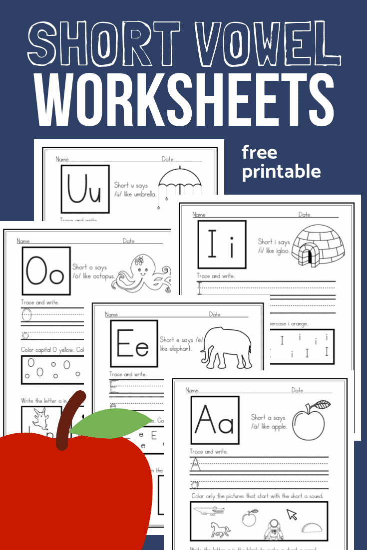 It is a picture of Geeky Free Printable Short Vowel Worksheets