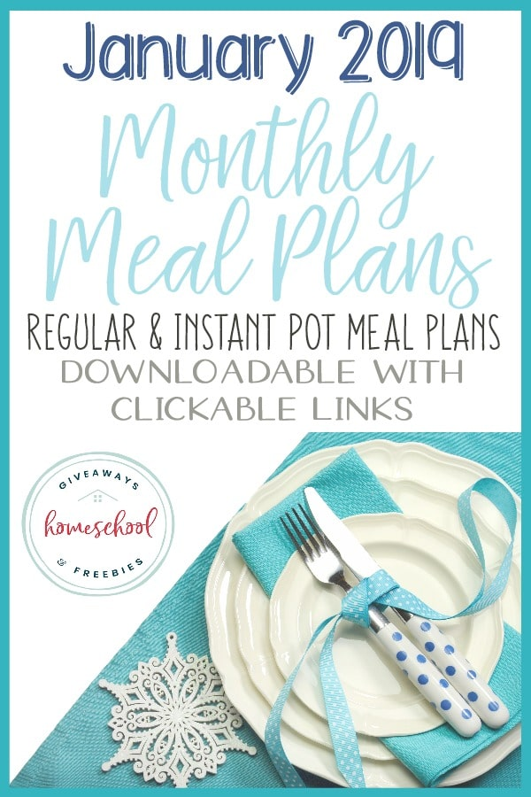 As we start the new year, meal plans are a great way to help you stay healthy and on budget! Choose from two downloadable meal plans with clickable links! #mealplans #menuplan #family #instantpot