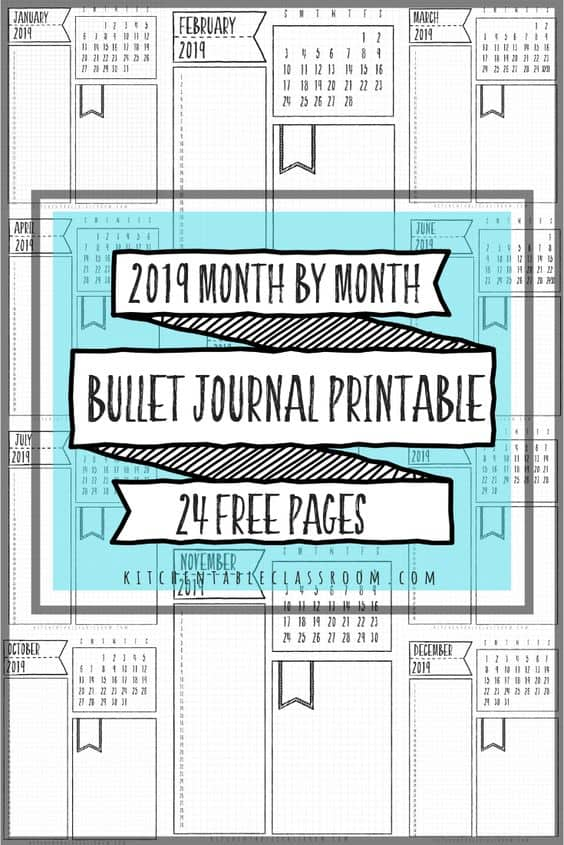 photo relating to Printable Bullet Journal called Every month Unfold No cost Printable Bullet Magazine - Homeschool
