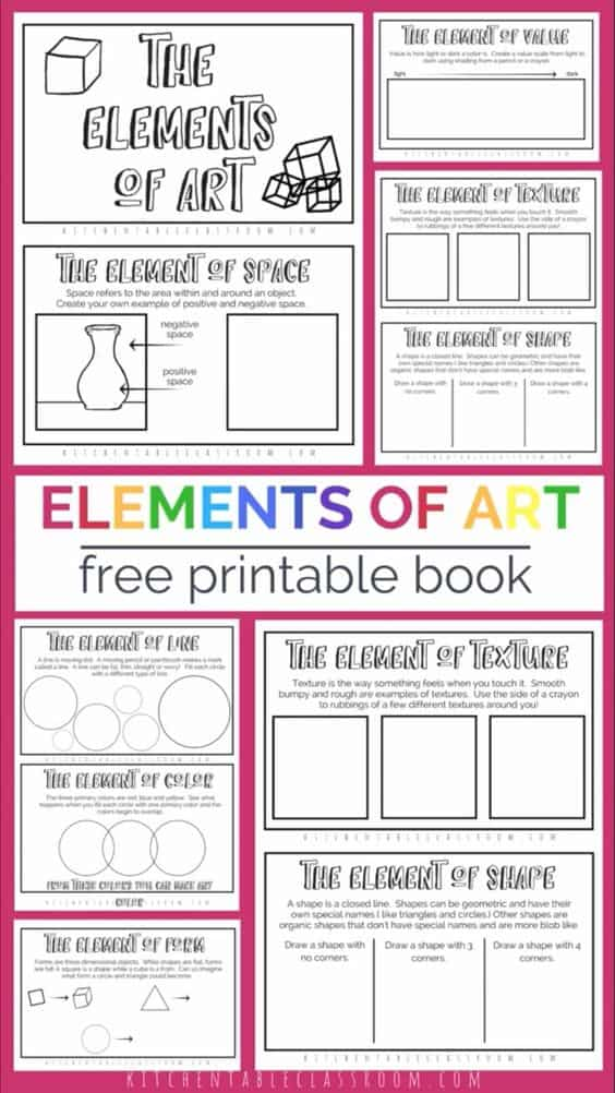 picture regarding Printable Elements known as No cost Printable Guide upon the Resources of Artwork - Homeschool