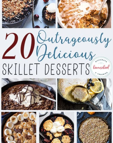 Have you ever made a dessert in your cast iron skillet? They are simply amazing! Try one of these outrageously delicious skillet desserts tonight! #dessert #castiron #skilletdessert #recipes
