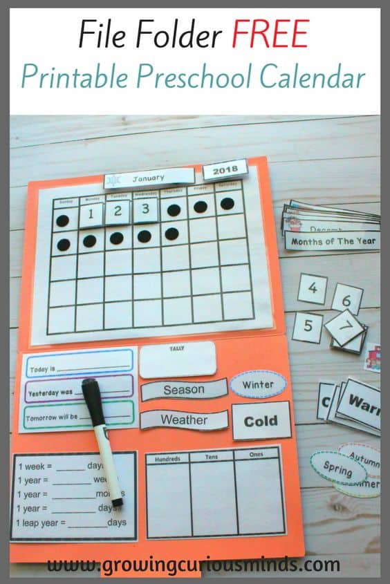 image regarding Preschool Calendar Printable titled No cost Printable Preschool Calendar for a Report Folder