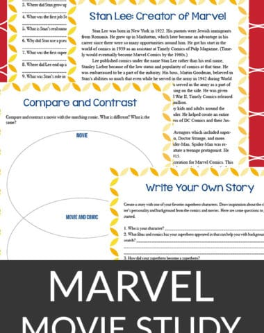 This Marvel movie study is a generic study that can be used with any Marvel movie - past, present or future. It includes four pages where students will learn about the creator and answer questions about him, write a story about their own character and do a simple compare/contrast exercise. #moviestudy #homeschoolers #hsgiveaways #Marvel