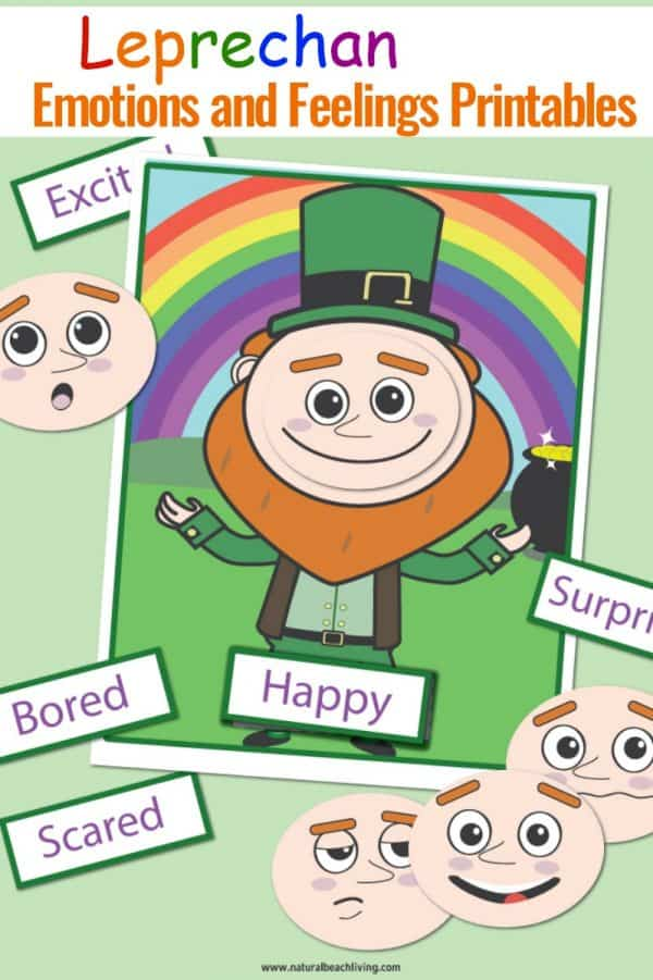 photograph relating to Printable Emotions identify Cost-free Preschool Inner thoughts Printables for St. Patricks Working day