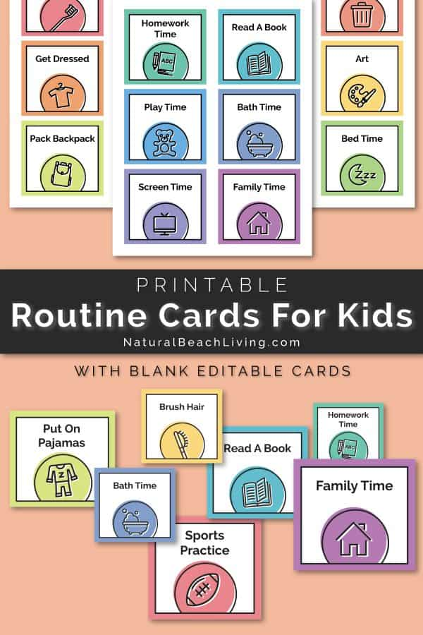 graphic about Printable Visual Schedule Pictures known as No cost Printable Household Agenda Playing cards for a Visible Plan
