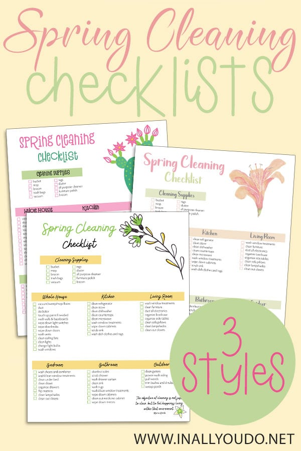 Does the thought of spring cleaning stress you out? This FREE printable checklist can help! Divided up room-by-room, this list breaks down the areas you need to clean this spring. And its available in 3 styles! #spring #springcleaning #hsgiveaways #springchecklist