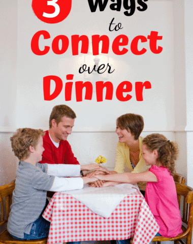 Don't let the busyness of life keep you from connecting as a family. Here are 3 ways you can make the most of the time you are together at the dinner table to grow closer as a family. #family #conversationstarters #familydinner