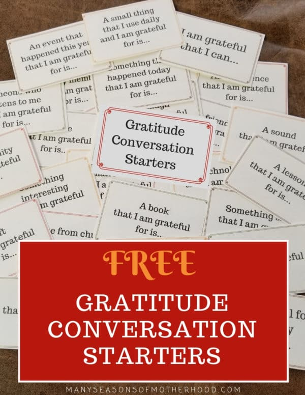 Develop a spirit of gratitude in your family with these Gratitude Conversation Starters. #conversationstarters #familydinner