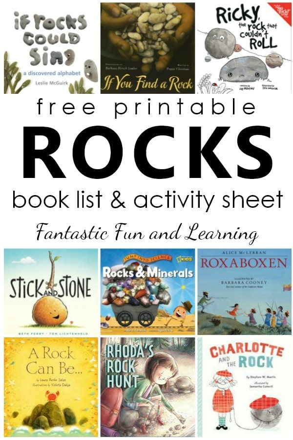 Book covers with overlay - Free Printable Rock Book List & Activity Sheet