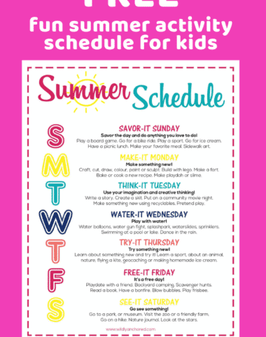 Get this FREE fun summer activity schedule for kids keeping them active with a theme for each day! #summerschedule #summeractivities
