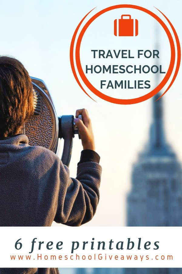 image of child looking through binoculars at Empire State building with text overlay saying 6 Free Travel Printables for Homeschool Families from www.HomeschoolGiveaways.com
