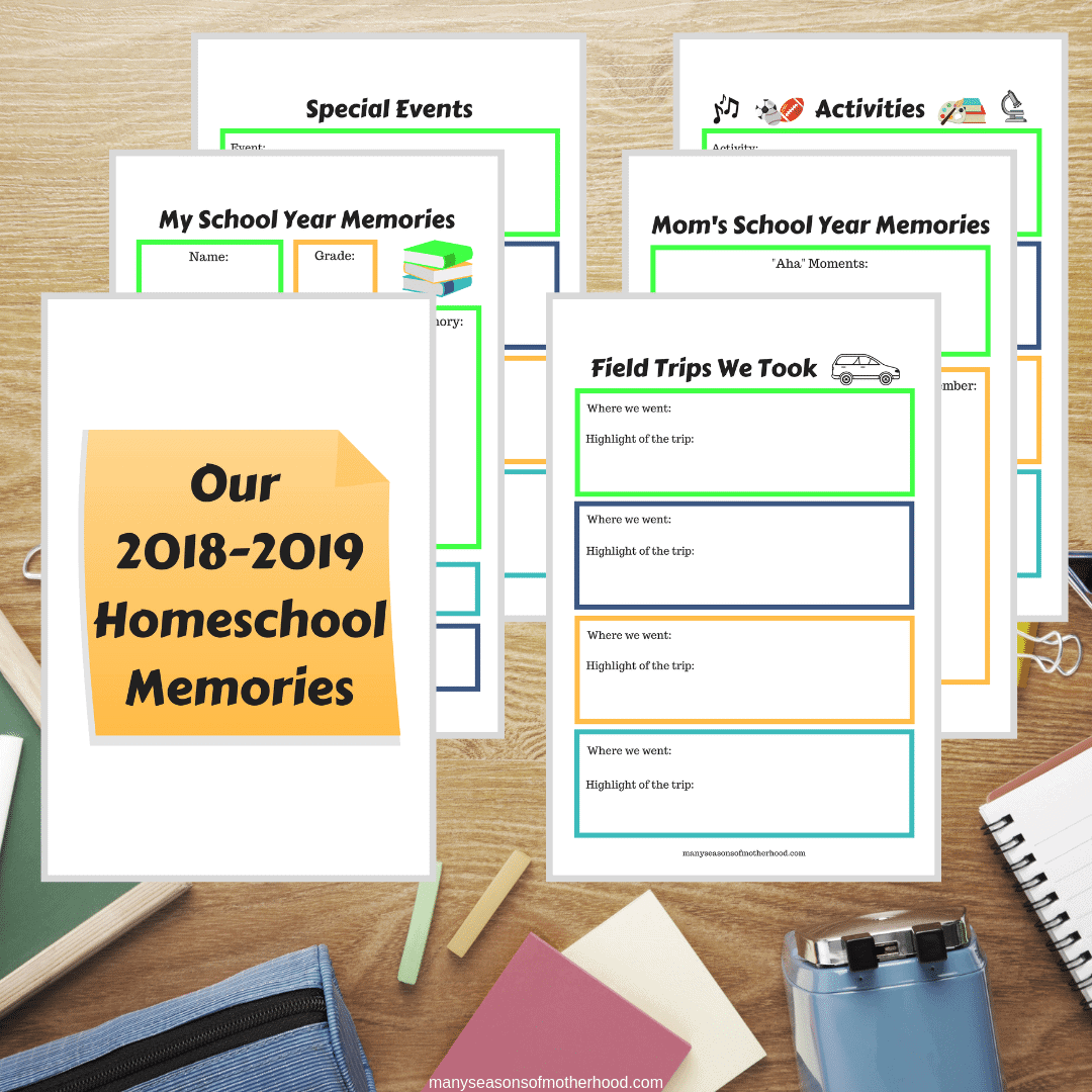 Capture this year's school memories before a new year starts. Get this FREE printable to record memories you made during your homeschool year. #homeschool #lastdayofschool #freeprintable