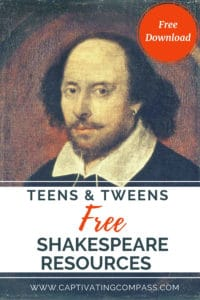 image of painting of Shakespeare with text overlay FREE Shakespeare Resources for Teens & Tweens