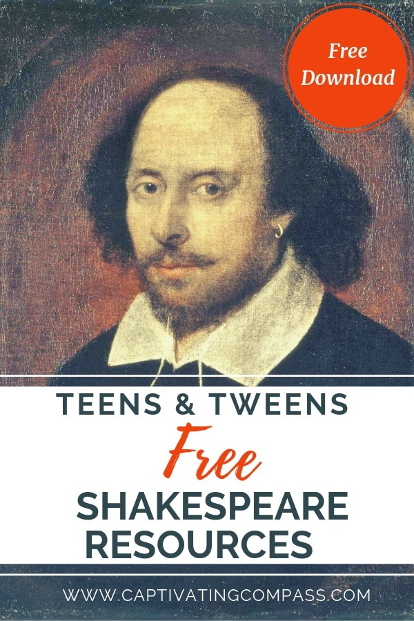 image of painting of Shakespeare with text overlya 21 free Shakespeare Resources for Teens & Tweens