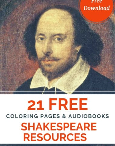 image of painting of Shakespeare with text overlya 21 free Shakespeare Resources: coring pages & audio books