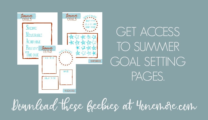 Grab summer goal setting pages to help your kids use their summer to work toward progress!