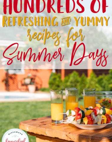 When my kids are outside playing and having fun, it is difficult to get them inside for a sit-down meal. These summer recipes are perfect for those long, hot days when you would rather be outside than inside cooking or need a quick, refreshing cool-down! #summer #recipes #summertime #hsgiveaways