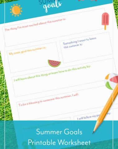 Summer Goals Printable Worksheet