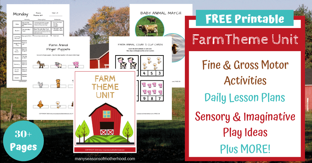 Free Preschool Farm Theme Unit includes daily lesson plans, fine and gross motor activities, sensory bin and imaginative play ideas, book recommendations, farm themed snack ideas and more. #preschool #homeschool