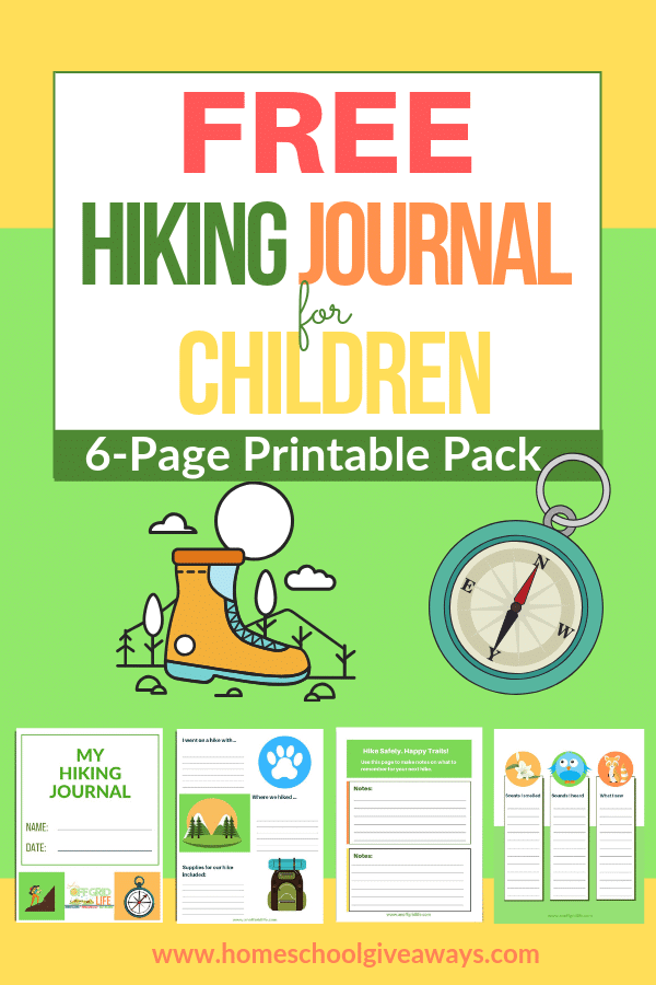 Get your free 6-page hiking journal for children! #hiking #freeprintables #freehomeschoolprintables
