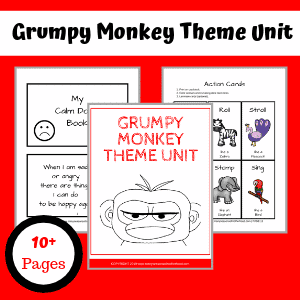 Your child will have fun learning how to regulate their emotions with this Grumpy Monkey Theme Unit. #preschool #GrumpyMonkey #booksforkids #bookunit