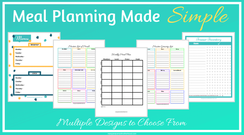 Get on top of your meal planning game with this free printable pack. #mealplanning
