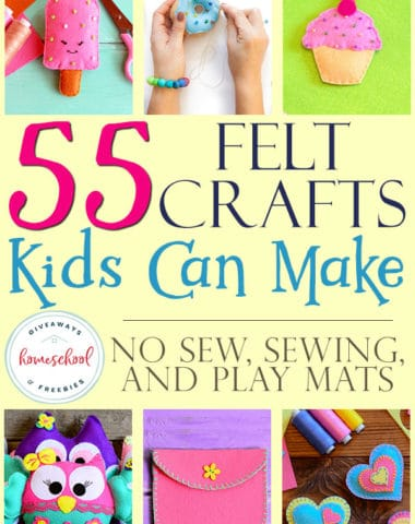 collage of felt crafts kids can make